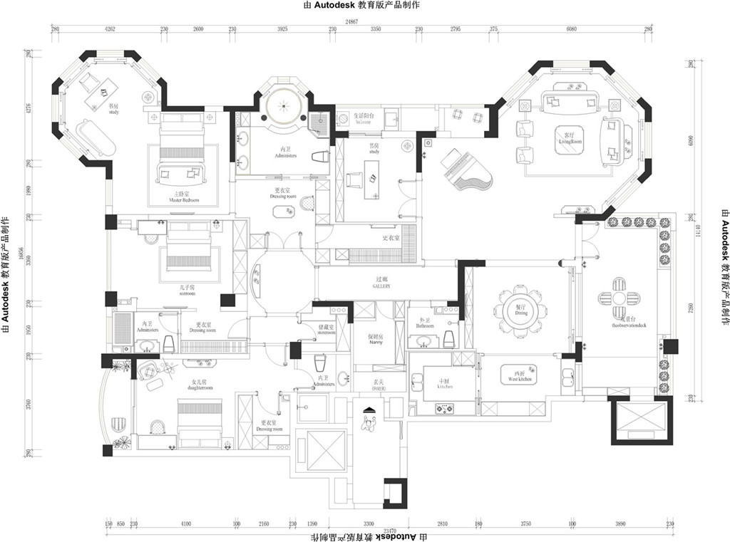 中瑞星河湾330平美式乡村设计装修效果图装修设计理念