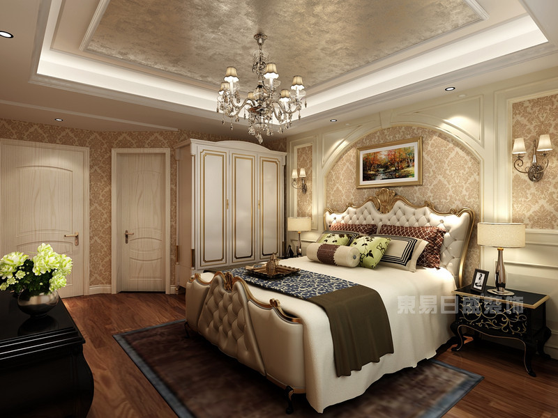150平米欧式风格装饰样板间中最浪漫的一张了,半圆形的床头背景墙有地