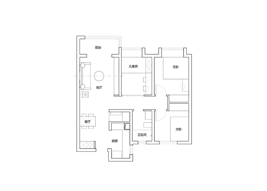 国润城 北欧装修效果图 三室两厅 90平米 设计师陶含溦装修设计理念