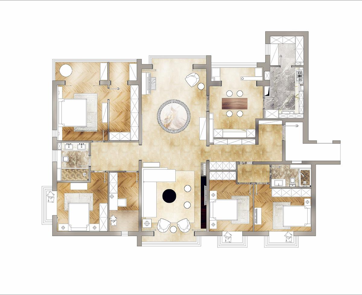 怡海花园 现代简约 255平米装修设计理念