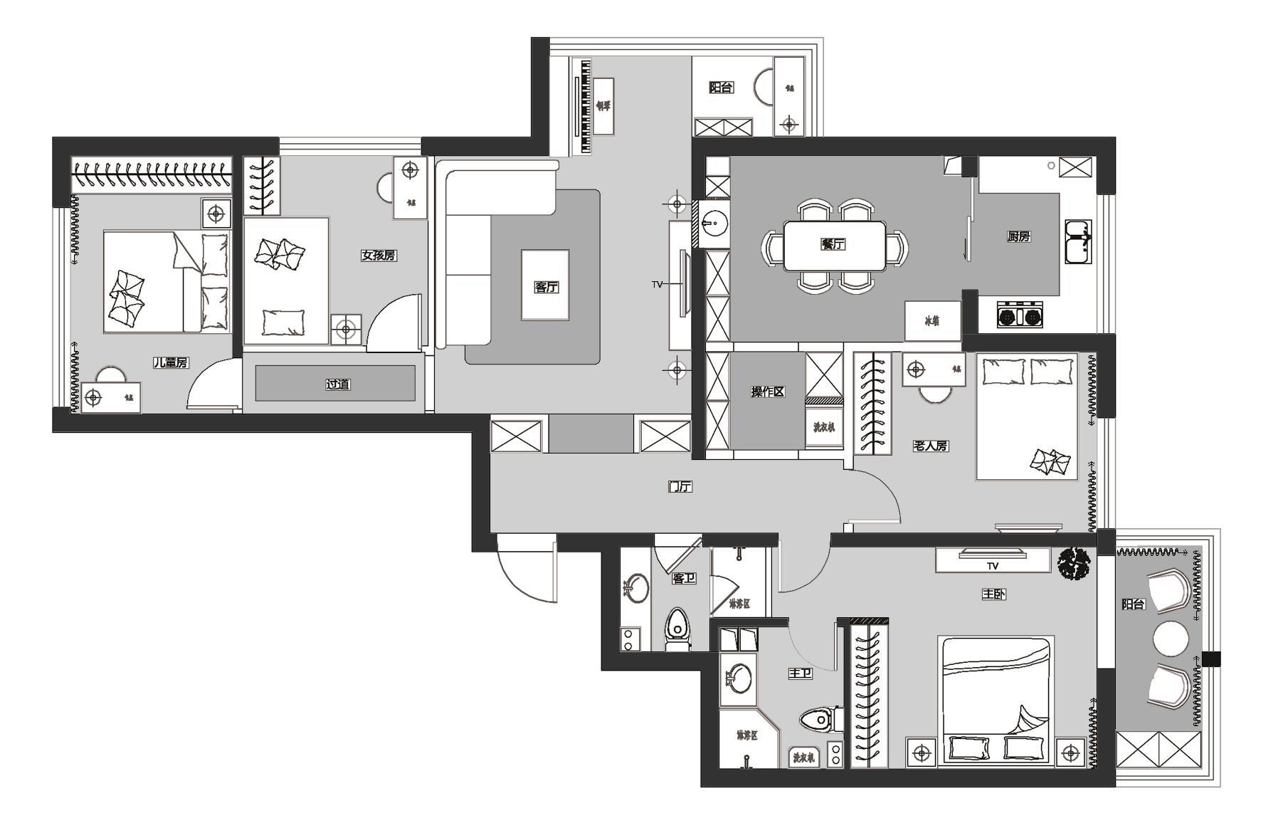 新奥洋房-120平米-简约风格-装修效果图装修设计理念