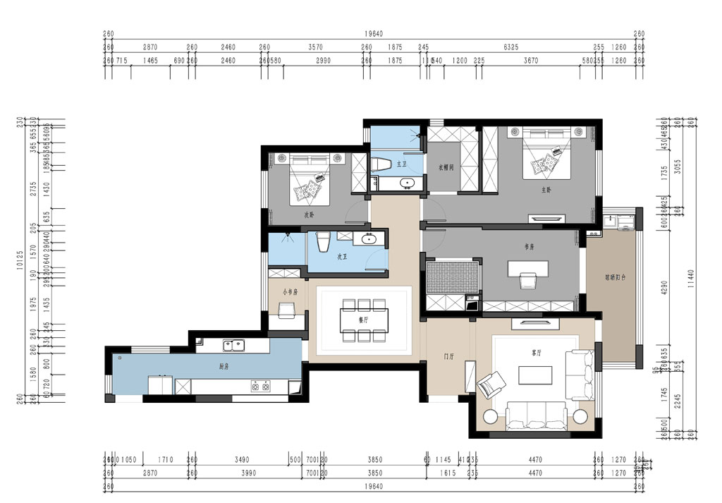 复地东湖国际158平米简美主义装修效果图装修设计理念