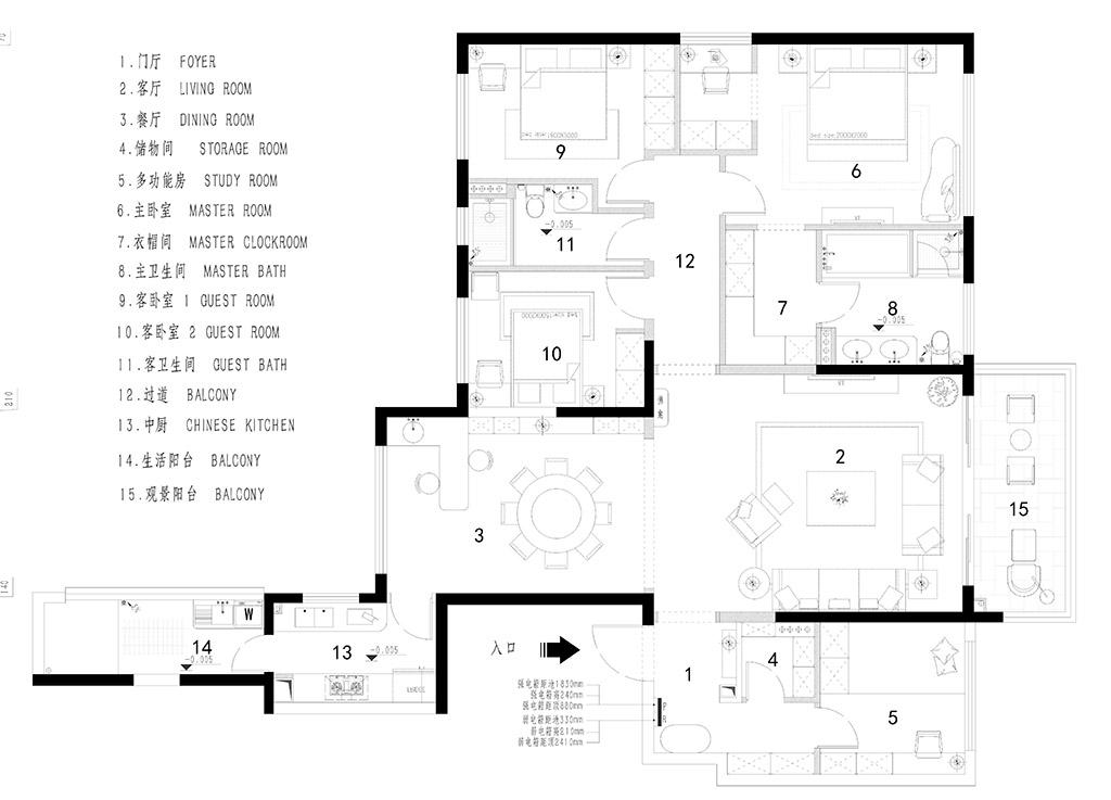 虎门万科云城装修案例-210㎡简欧风格四房二厅装修效果图装修设计理念