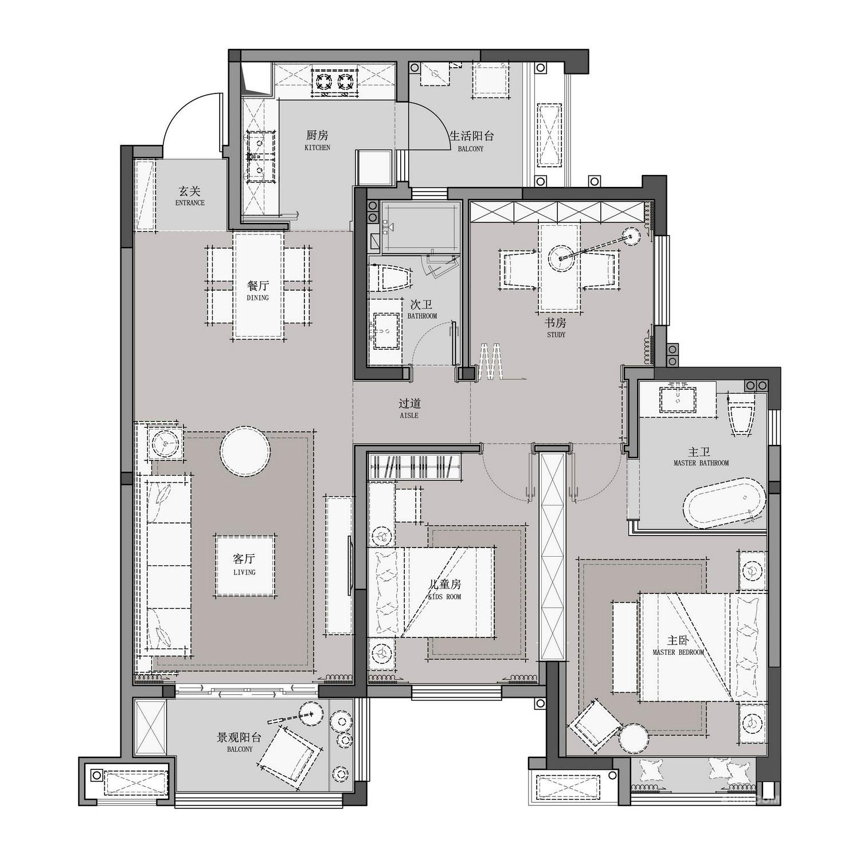 现代风格装修效果图丨长兴·星城102㎡三居室装修案例装修设计理念