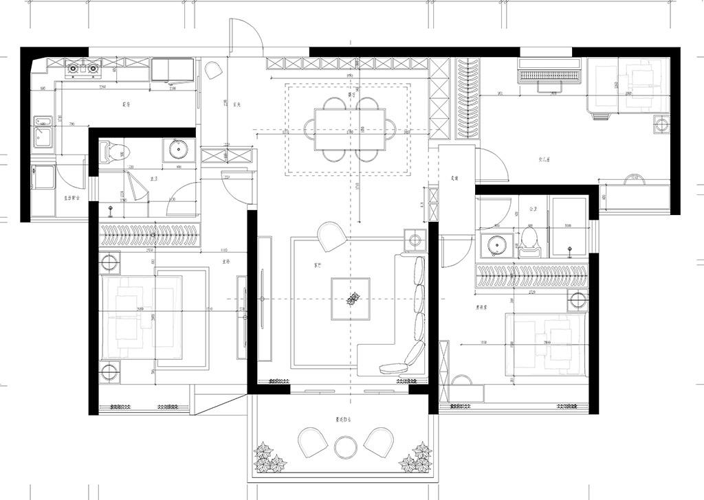 塘厦珠江观澜御景峰装修效果图-124㎡现代风三房二厅装修案例装修设计理念