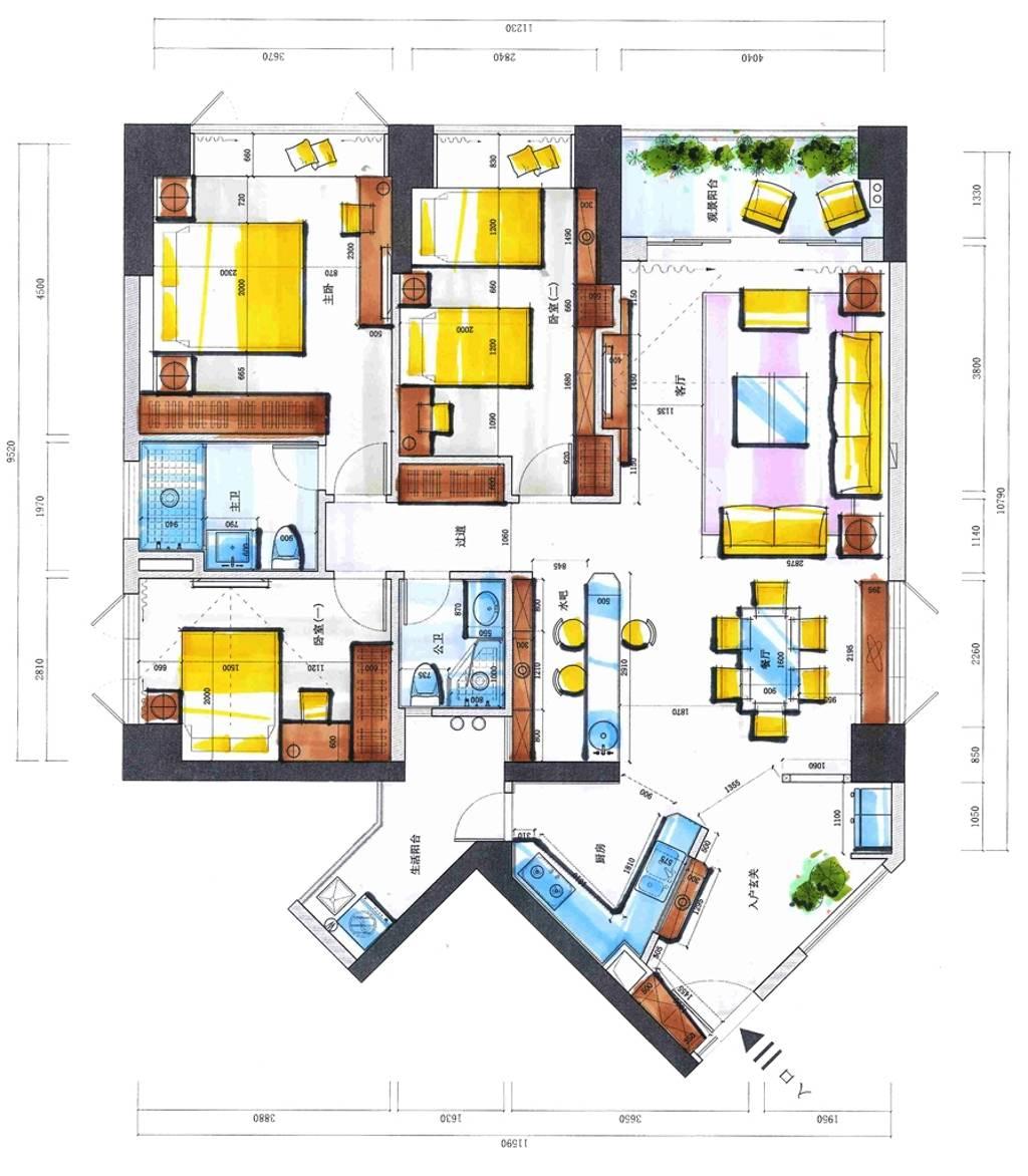 滨河时代-新中式-155平-装修效果图装修设计理念