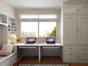 书房装修中书柜电脑桌一体效果图欣赏