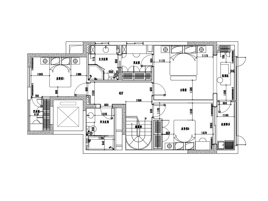 安阳城跃层173平简美风格装修设计效果图装修设计理念