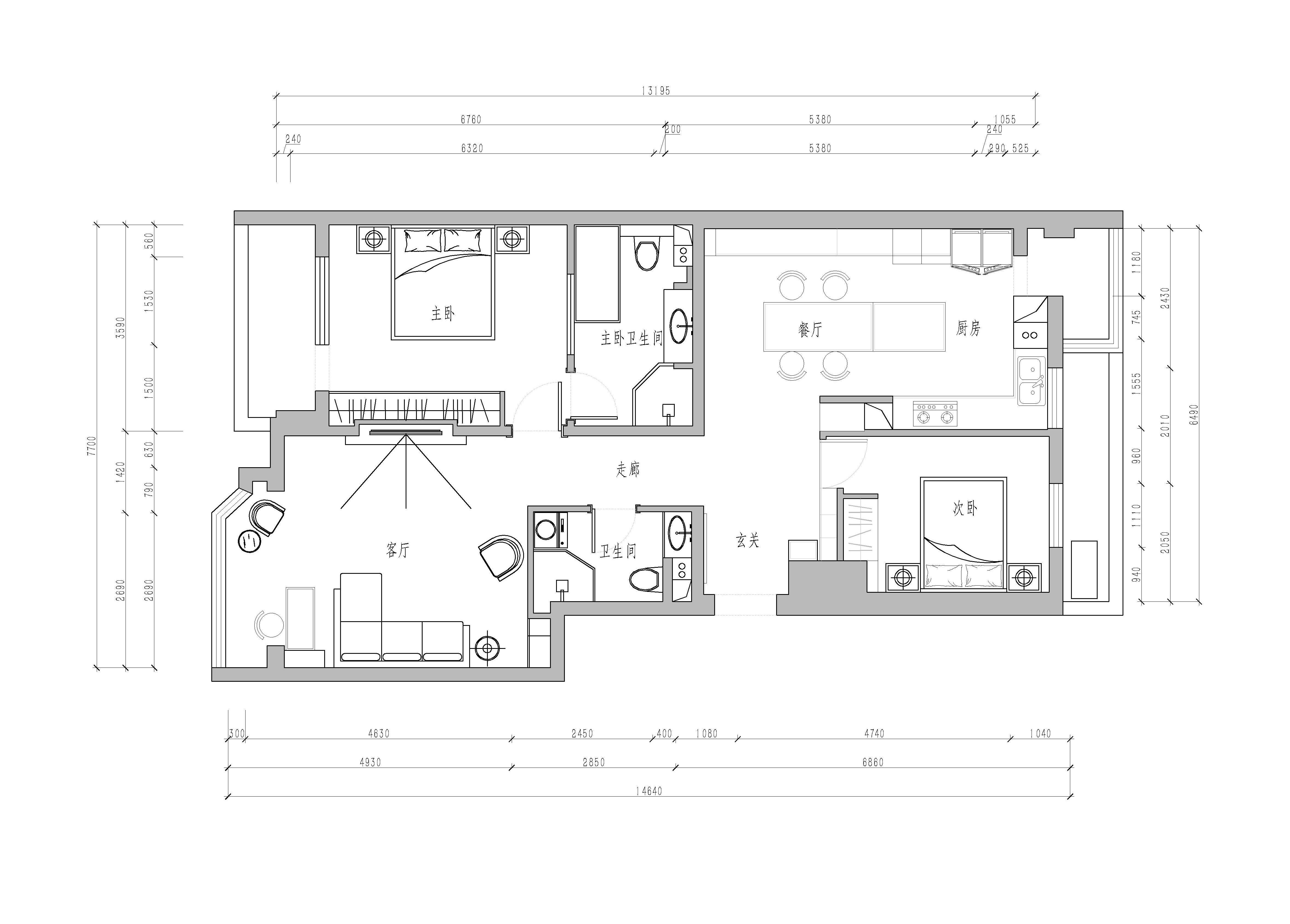 山水文园-89平米-现代简约装修设计理念
