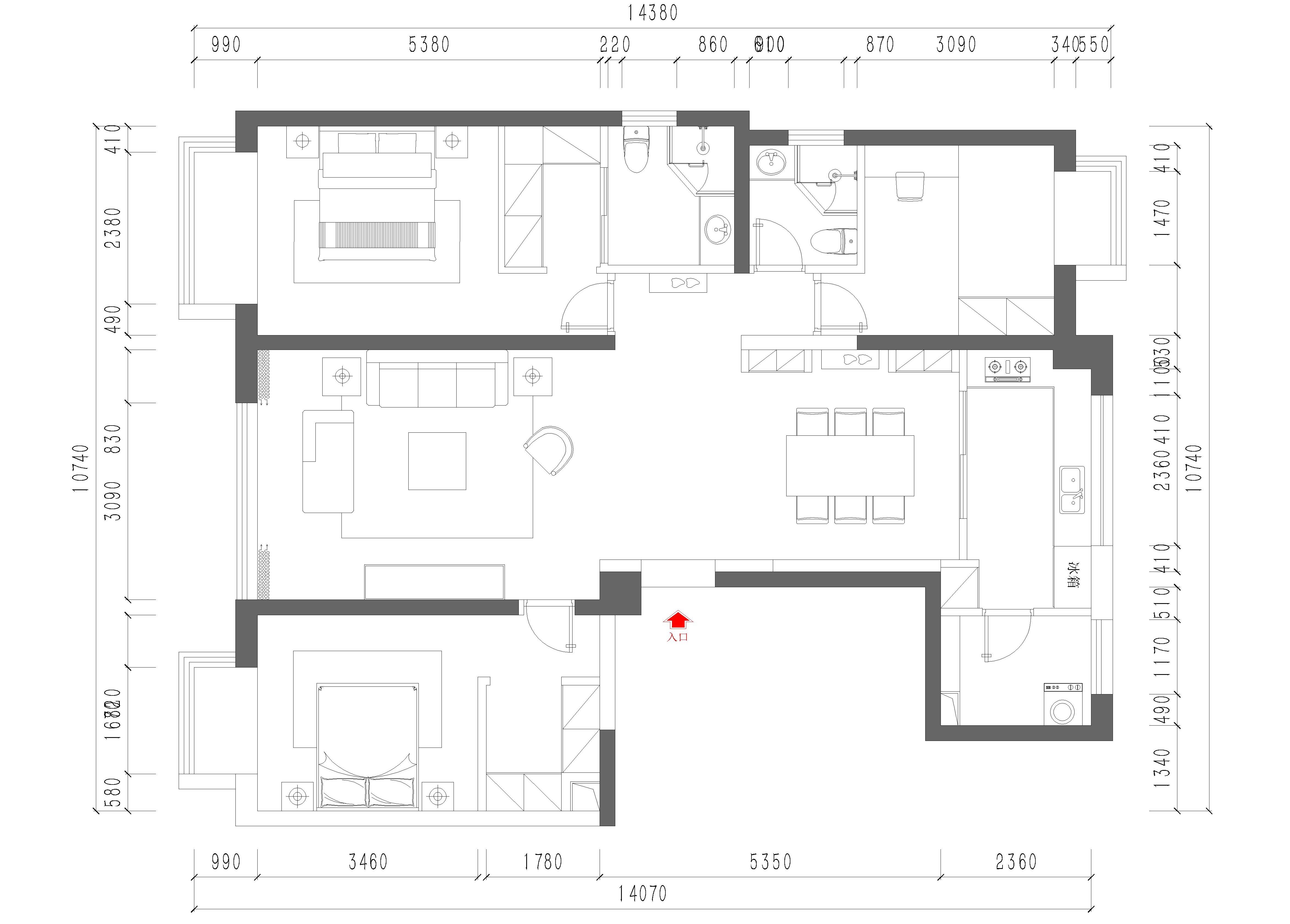 昆明海珀澜庭140㎡三居室简约现代风格装修效果图装修设计理念