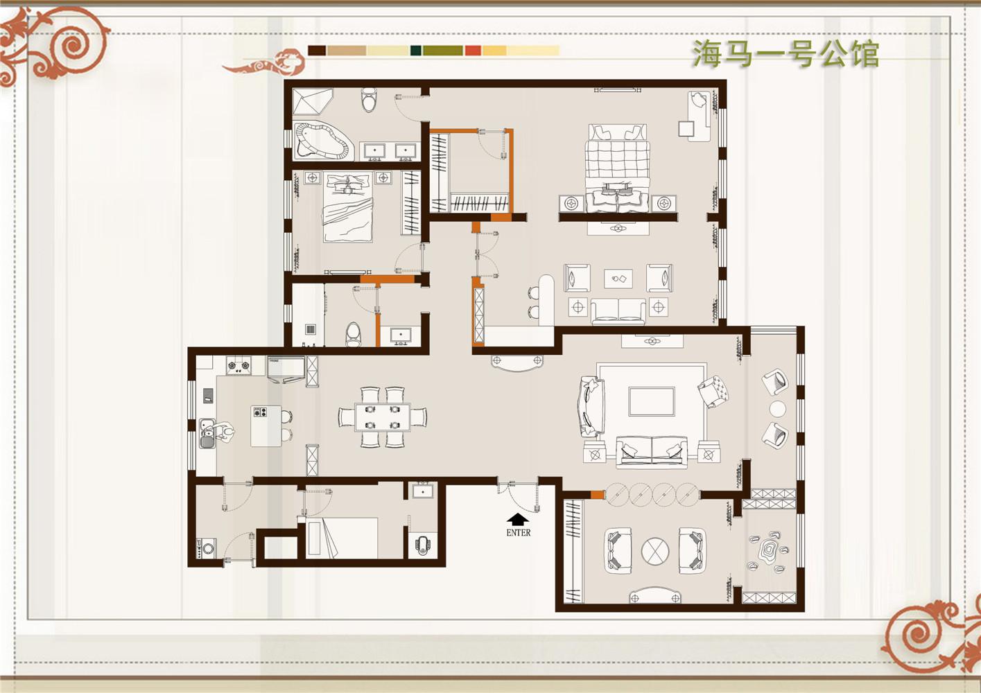海马壹号公馆新中式237平四居室装修设计理念