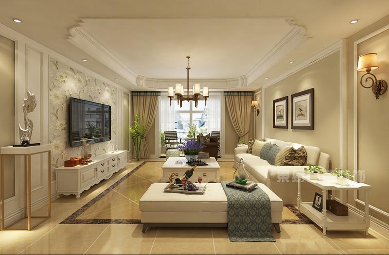 枫叶新都市 现代简约美式装修效果图 三室两厅一厨两卫