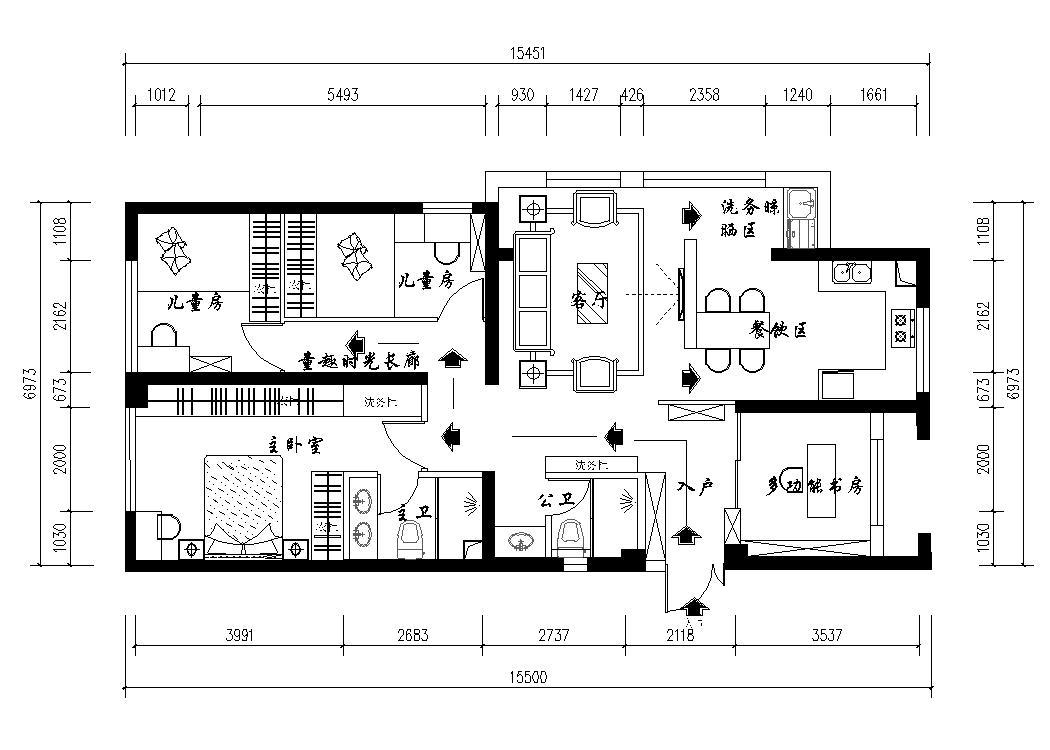春江明月128平米新中式风格案列装修设计理念