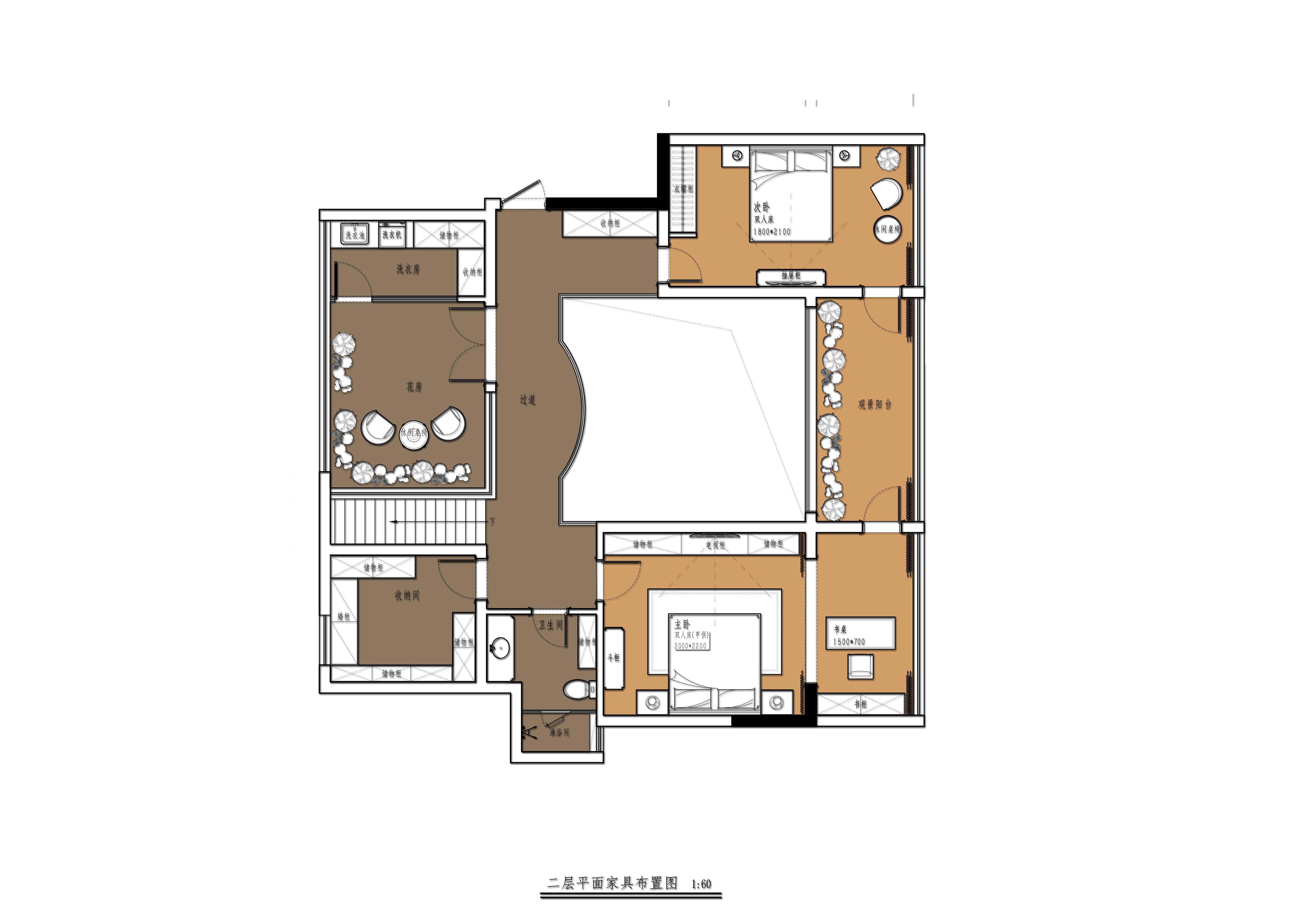 中航金城一号 184平顶层复式 美式风格装修设计理念