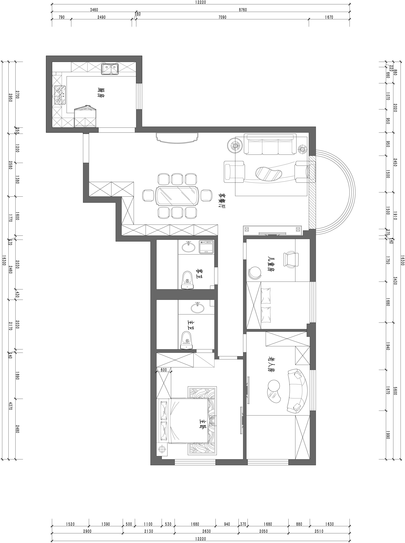 圣馨大地-125平米-新中式装修设计理念