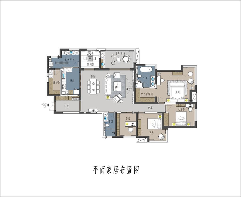 天鹅堡 现代简约装修效果图 平层 200㎡装修设计理念