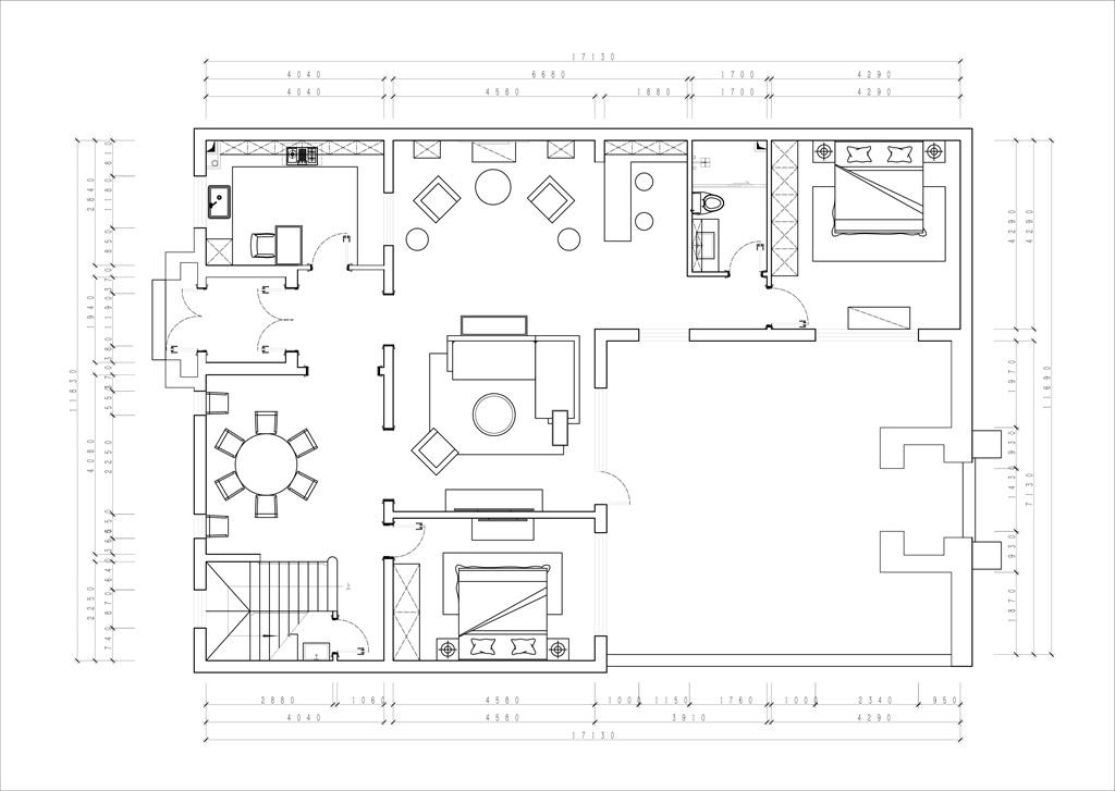 八达岭孔雀城-260㎡-美式田园装修设计理念