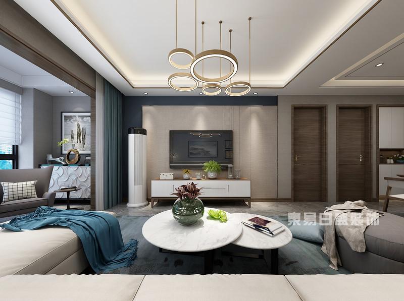 140平米三室两厅装修效果_客厅_东易日盛案例
