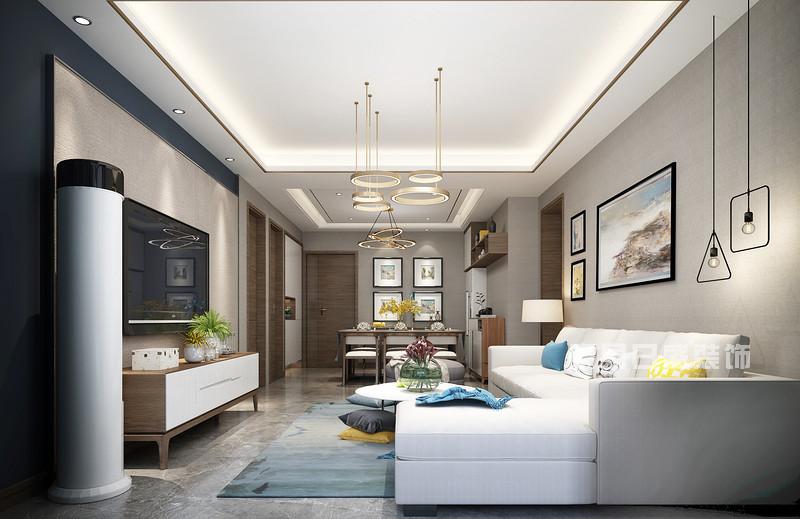 140平米三室两厅装修效果_电视背景墙_东易日盛案例