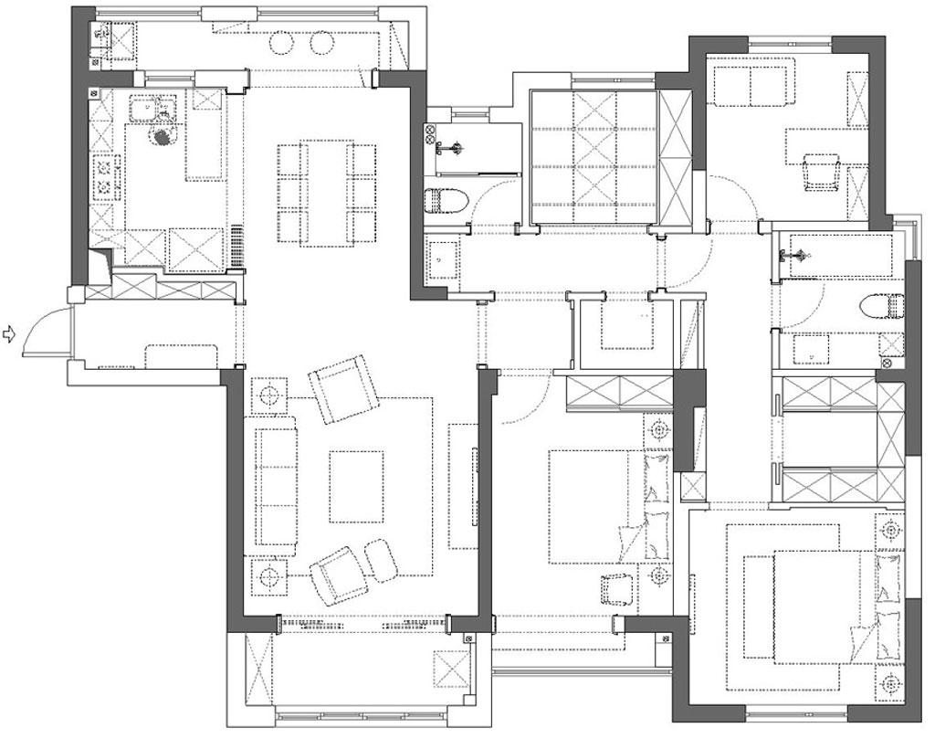 橡树湾160平米现代摩登台式装修实景图装修设计理念