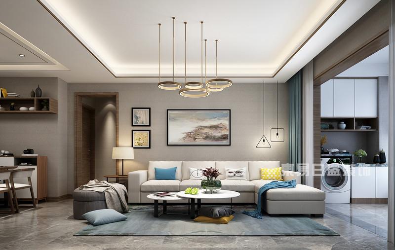 140平米三室两厅装修效果_沙发背景墙_东易日盛案例