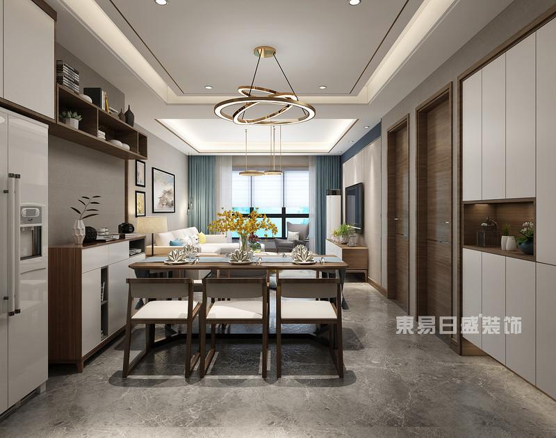 140平米三室两厅装修效果_餐厅吊顶灯_东易日盛案例