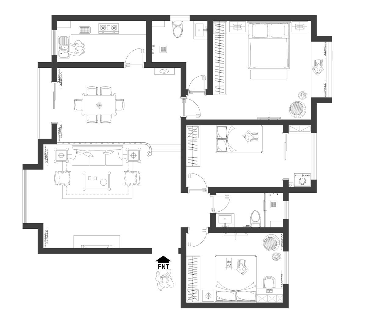 建业城市花园美式度假风151平三居室装修设计理念
