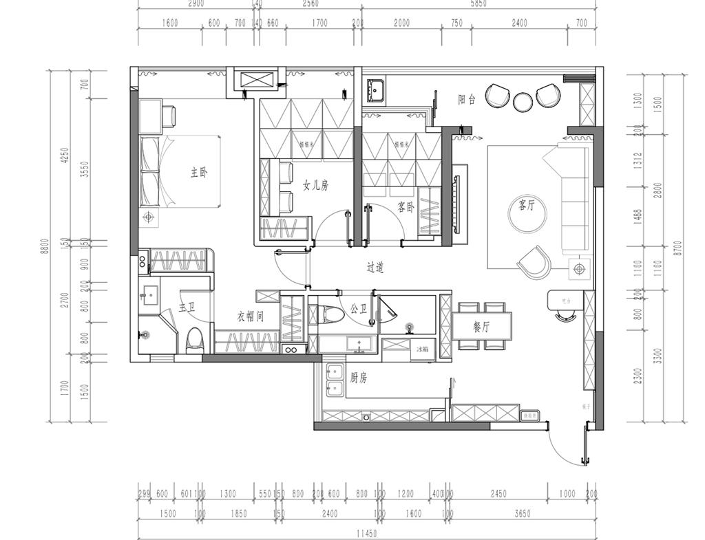深业东岭-100平米-现代轻奢风格-装修设计方案图装修设计理念