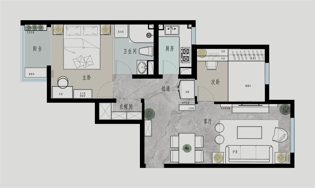 新景家园-62平米-新中式装修设计理念