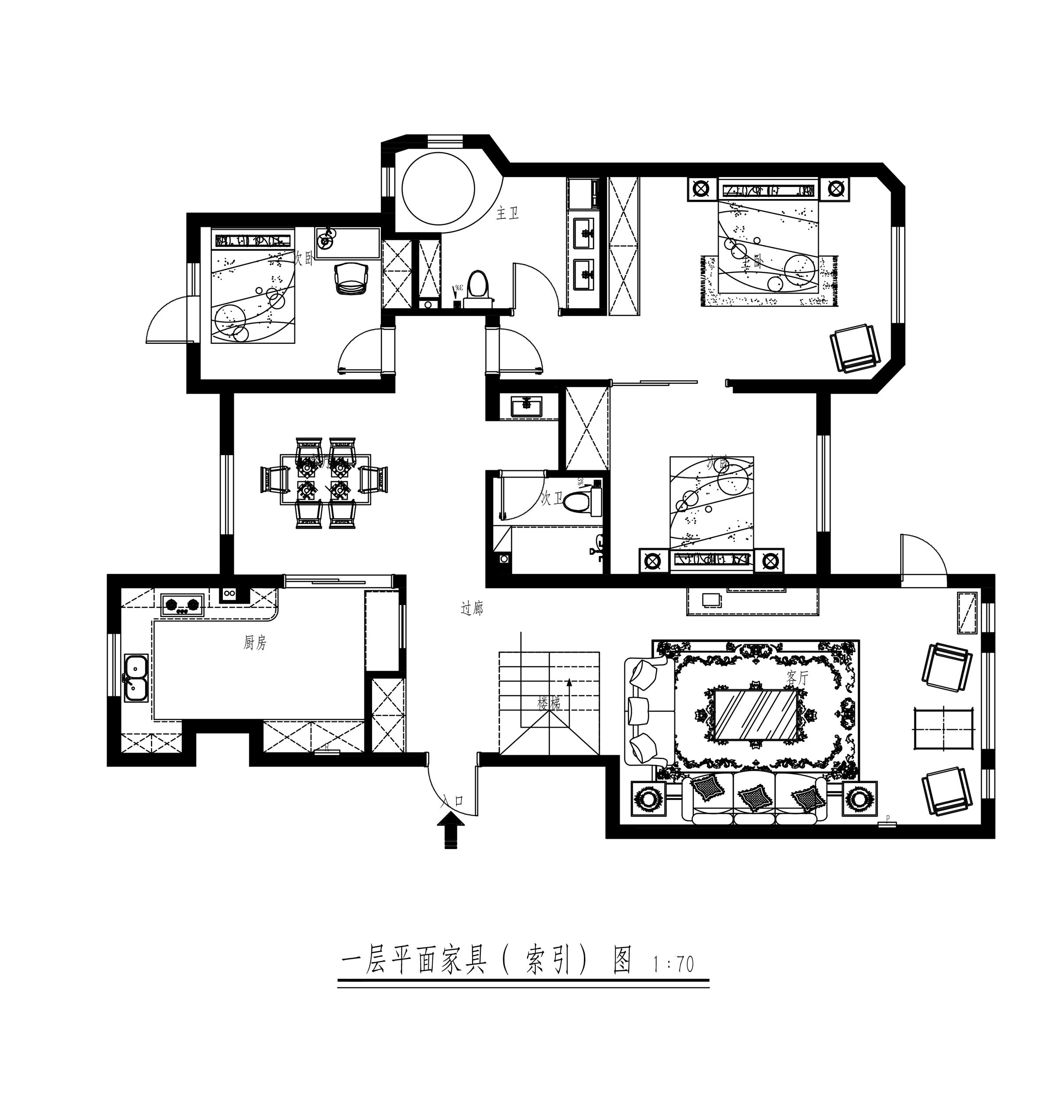 金地檀府240平一楼带地下美式案例效果图装修设计理念