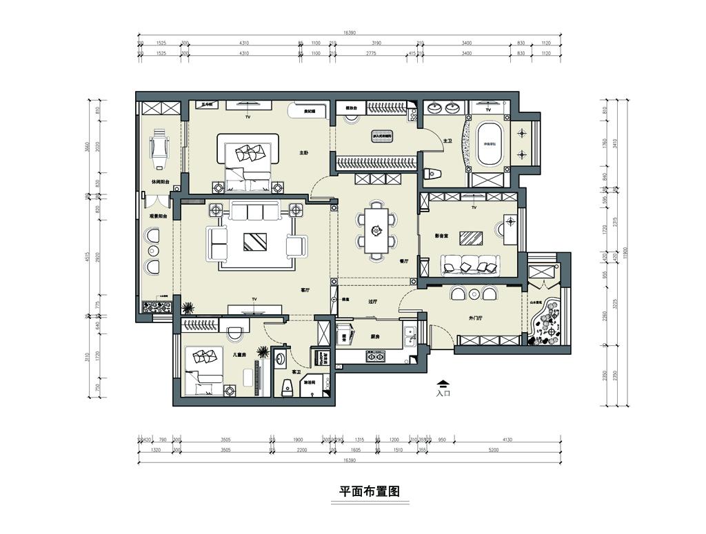 花墅香醍-160平米-欧式风格-装修效果图装修设计理念
