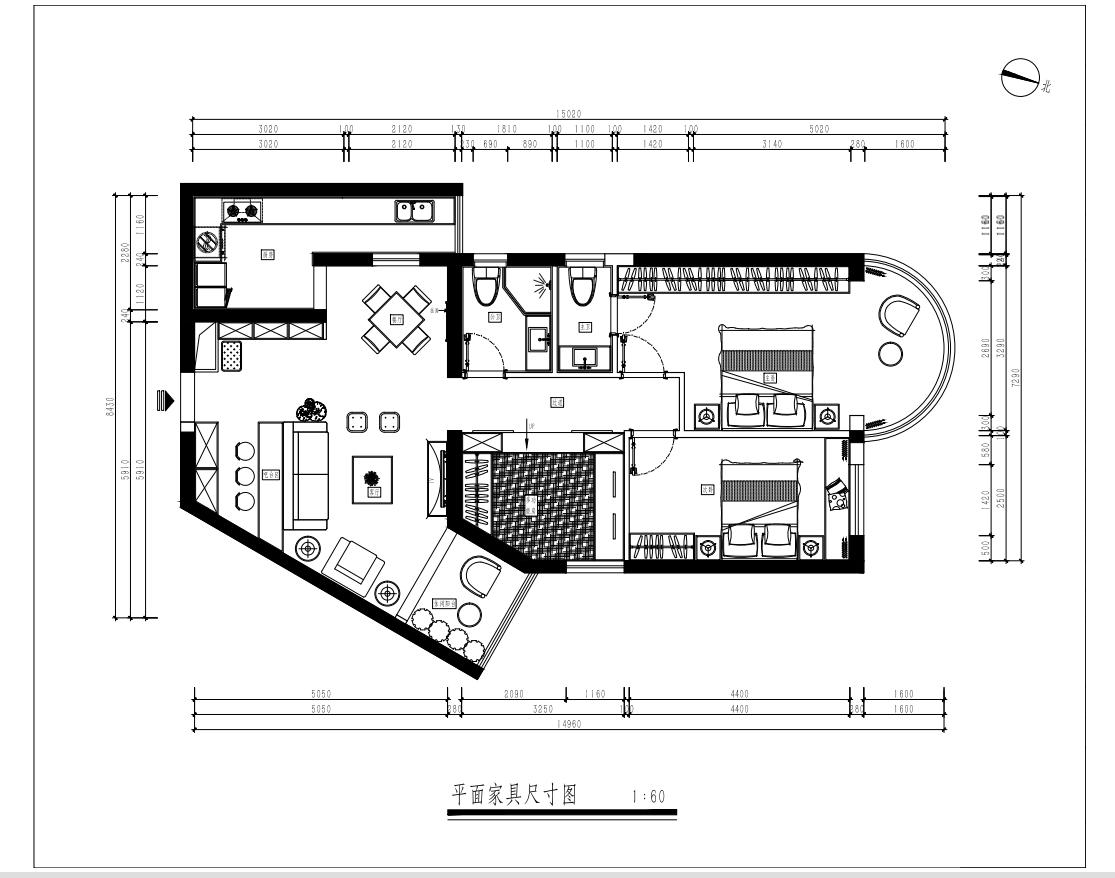 东方花园 北欧风格装修效果图 104平米 三室两厅装修设计理念