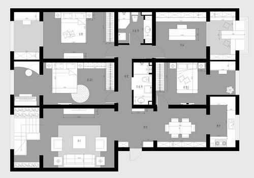 部队小区-新中式装修风格-180平米装修设计理念