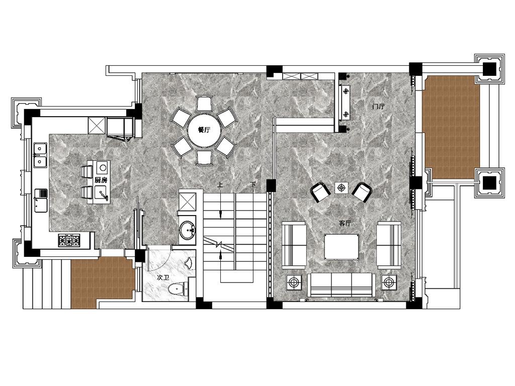 城市嘉苑400平新中式装修设计理念