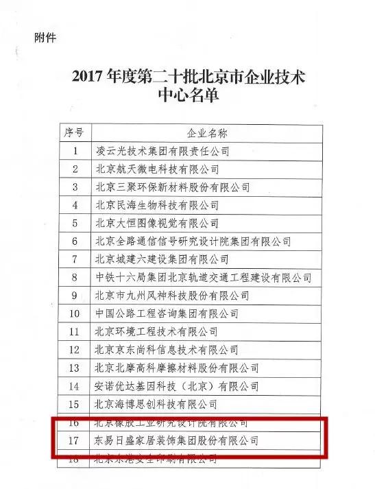 2017年度第二十批北京市企业技术中心名单