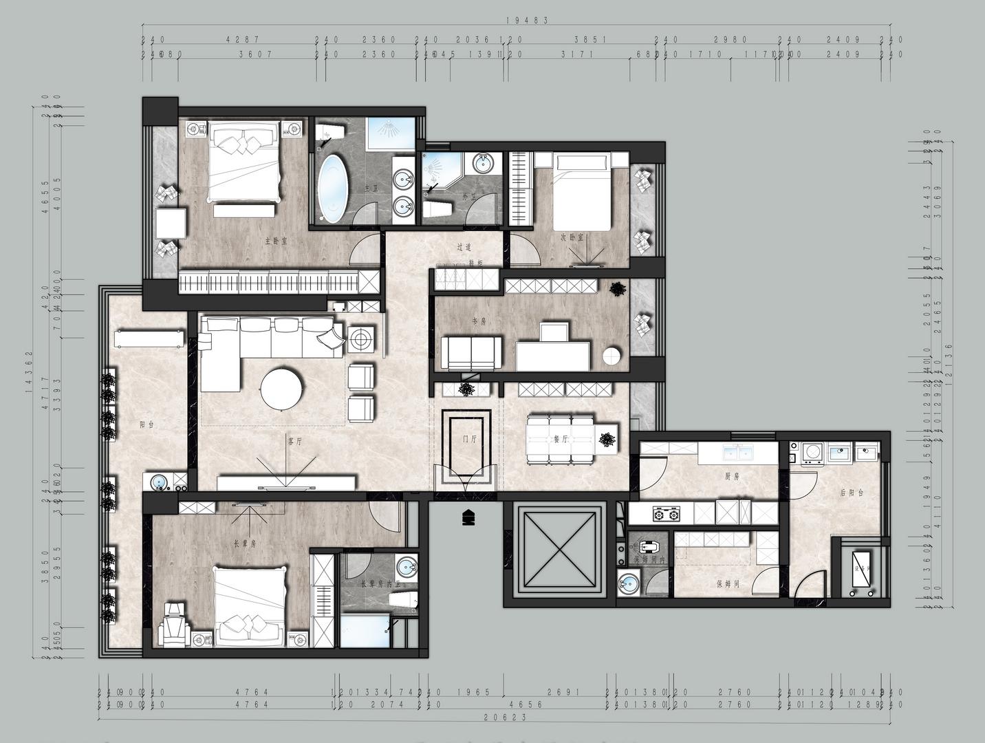 恒裕滨城-200平米装修-现代简约风格装修案例装修设计理念