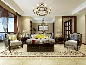 130㎡三室两天美式风格设计要点 效果图赏析