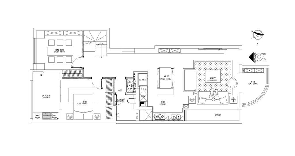 红墅湾150平跃层现代都市风尚设计装修效果图装修设计理念