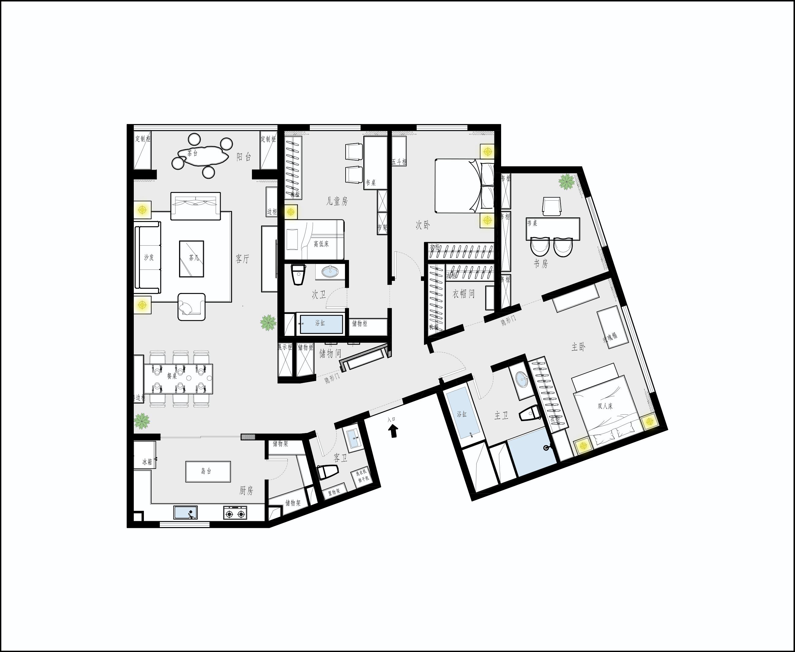 陽光上東-180平米-新中式裝修設計理念