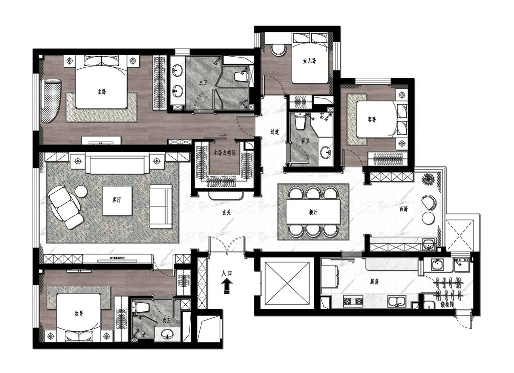 昆仑域-180平米-现代轻奢-装修效果图装修设计理念