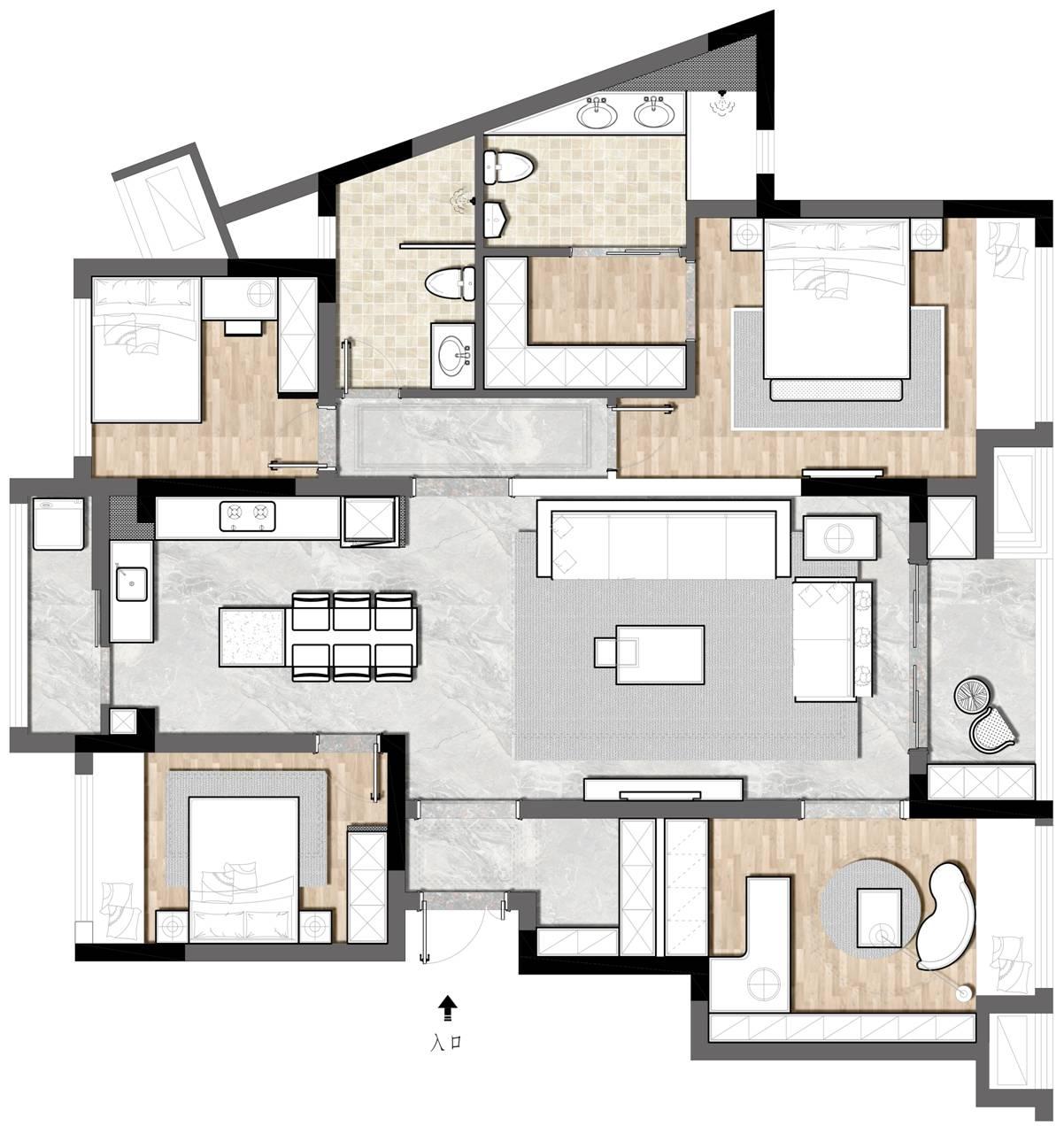 龙湖九里晴川124平米现代风格装修设计理念