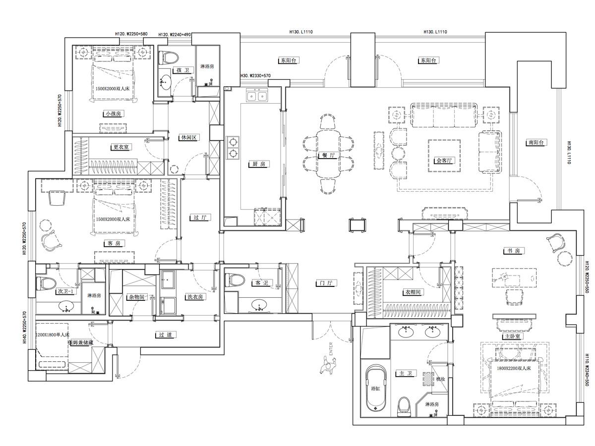 绿城玫瑰园270平米新古典风格装修设计理念