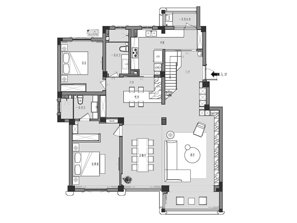 城市嘉苑310平复式现代简约风格装修设计理念