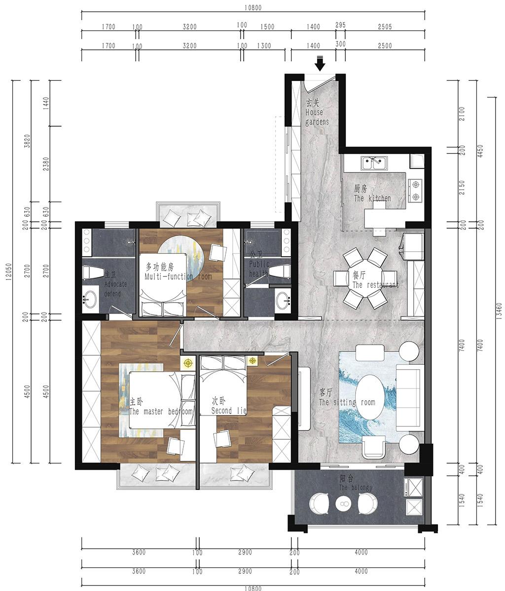 虎门湖山雅居-129㎡现代风三房二厅装修效果图装修设计理念