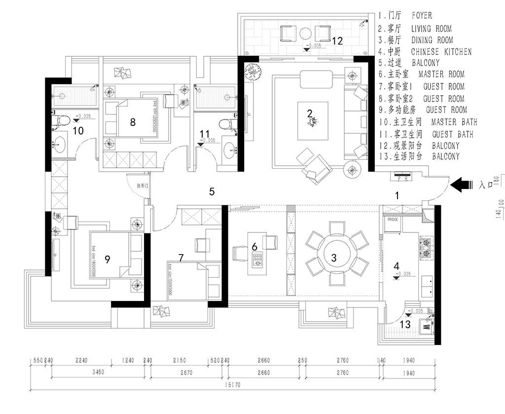 常平翔龙天地广场装修案例-130㎡简美三房二厅装修效果图装修设计理念