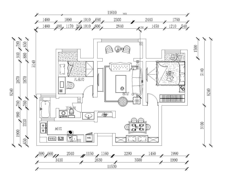 财信圣提亚纳--现代美式风格--92平--普通住宅装修设计理念