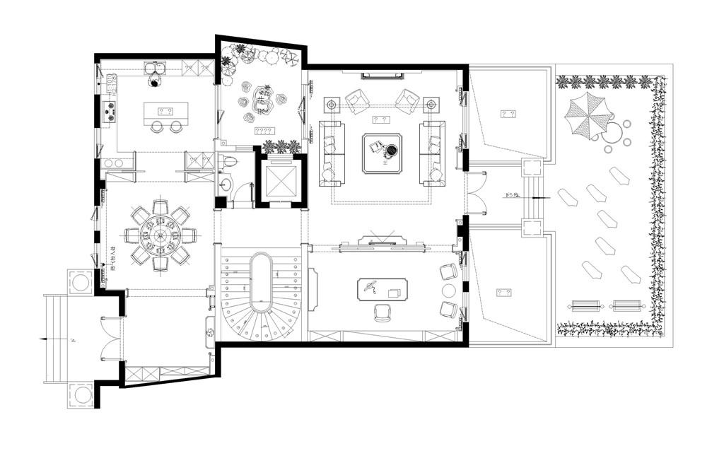 国宾一号1幢250平现代简约设计装修效果图装修设计理念