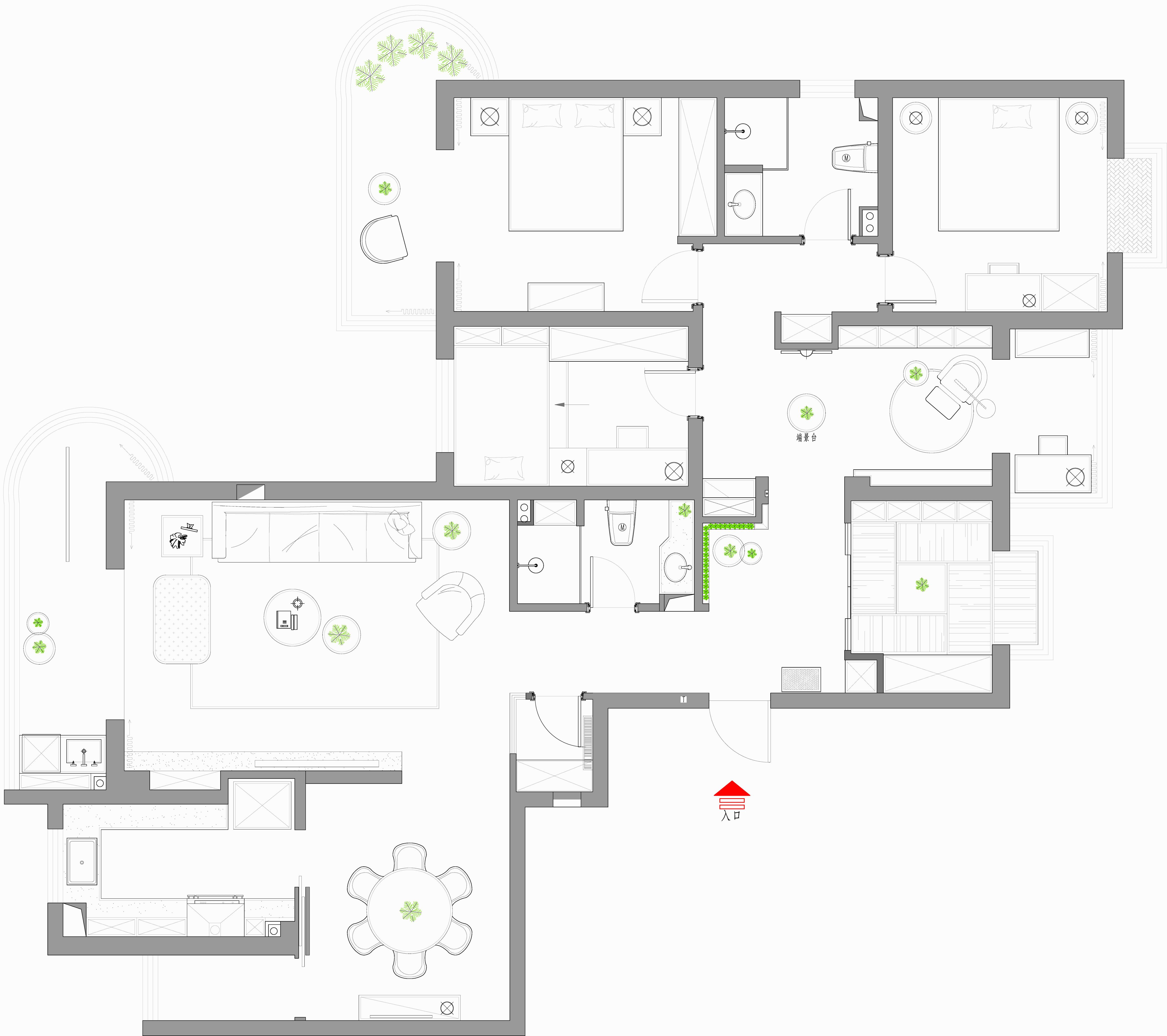 霍州开元小区现代风格190平米装修效果图装修设计理念