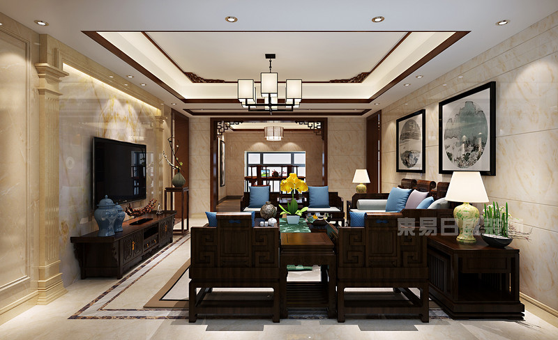 海景蓝湾现代中式客厅装修效果图.jpg