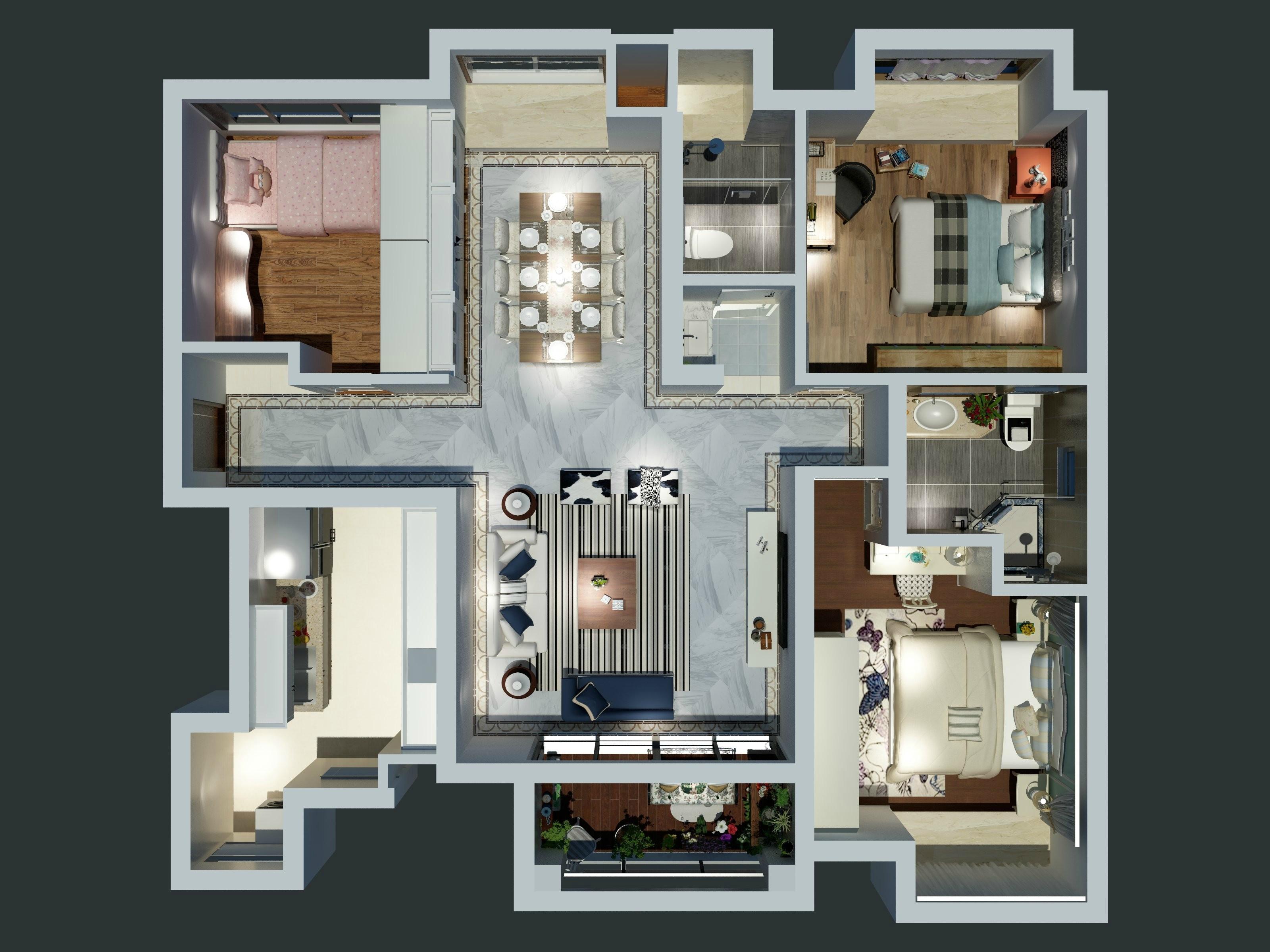 常平远大城市广场装修案例-112㎡简欧三房二厅装修效果图装修设计理念